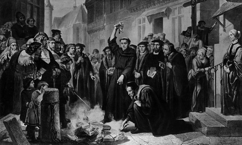 Martersteig's depiction of German religious reformer Martin Luther burning the papal bull containing 41 theses issued against him. Photograph: Rischgitz/Getty Images