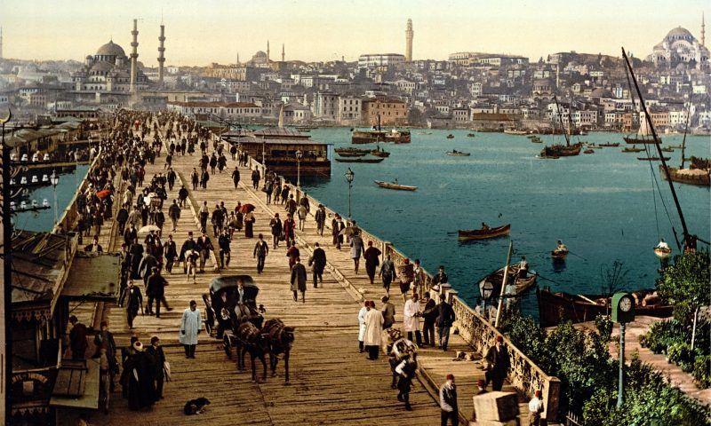 Galata bridge, spanning the Golden Horn in Istanbul, Turkey, in 1895. 'In the aftermath of the elections, a rare sense of relief and hope can be felt across the country.' Photograph: Buyenlarge/Getty