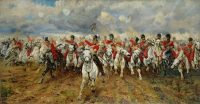 """Scotland For Ever,"" a painting by Lady Elizabeth Butler, 1881, showing the Battle of Waterloo. Credit Bridgeman Art Library"