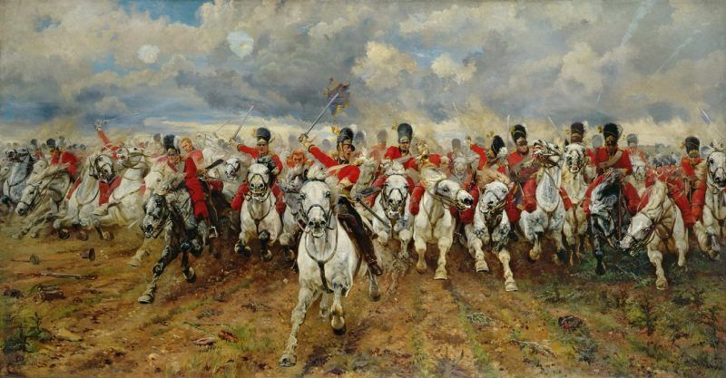 """""""Scotland For Ever,"""" a painting by Lady Elizabeth Butler, 1881, showing the Battle of Waterloo. Credit Bridgeman Art Library"""