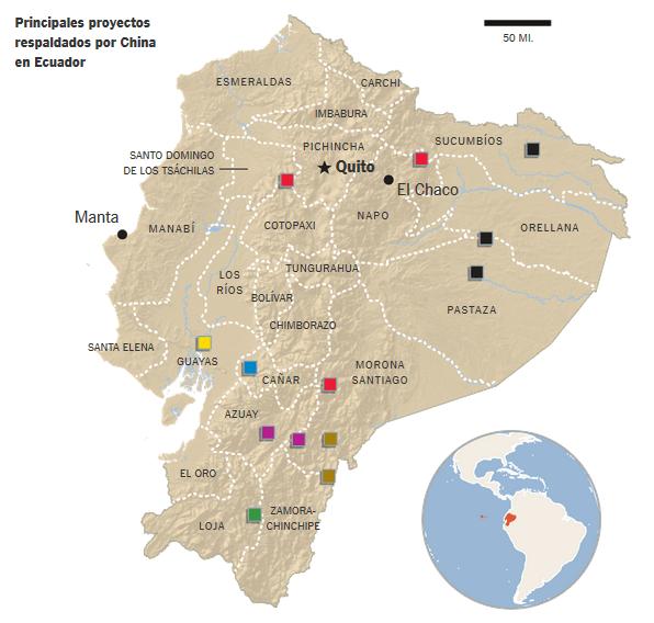 Principales proyectos respaldados por China en Ecuador