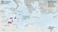Mapa de inmigrantes fallecidos o desaparecidos en el Mediterráneo. Fuente: New York Times.