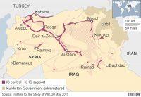Zonas de control e influencia de Daesh en Irak y Siria a 20/5/2015. Fuente: Institute for the Study of War/ BBC.com