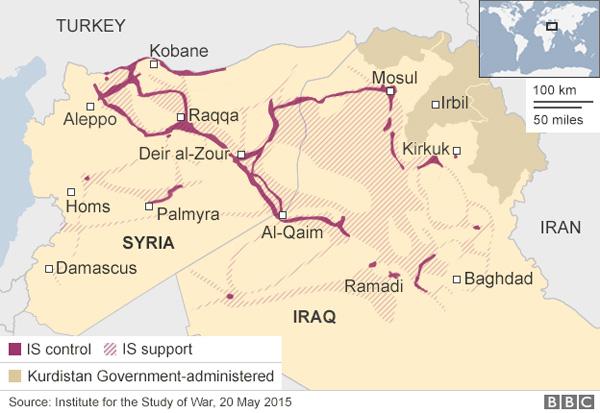 Zonas de control e influencia de Daesh en Irak y Siria a 20/5/2015