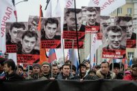 A Moscow march in memory of Boris Nemtsov two days after the Russian opposition leader's killing. (Alexander Aksakov/Getty Images)