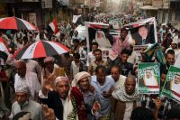 Yemenis marching in the southwestern city of Taiz in favor of the Saudi-led coalition that is battling Shiite Houthi rebels. Credit Agence France-Presse — Getty Images