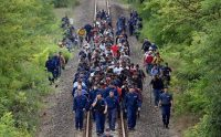 Refugees from various nations being escorted along a rail line near the town of Szeged, Hungary, close to the border with Serbia. Credit Attila Kisbenedek/Agence France-Presse — Getty Images