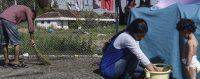 Camp de réfugiés dans les Balkans, été 2015.