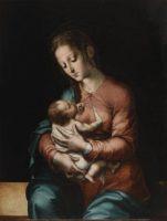 """""""La Virgen de la leche"""", Luis de Morales, Óleo sobre tabla, 84 x 64 cm, h. 1565, Madrid, Museo Nacional del Prado."""