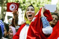 Célébration du quatrième anniversaire de la révolution tunisienne, avenue Bourguiba, à Tunis, en janvier. Photo Anis Mili. Reuters
