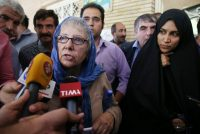 Mary Rezaian, the mother of Jason Rezaian, spoke with reporters in Tehran on August 10. Vahid Salemi/Associated Press