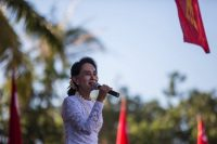 Aung San Suu Kyi on the campaign trail last month. (Andre Malerba/Getty Images)