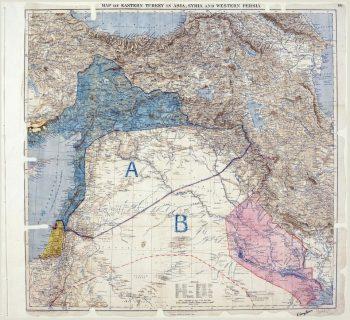 La carte de l'accord secret Sykes-Picot du 16 mai 1916, conclu entre la France et le Royaume-Uni, avec le consentement de la Russie, établissant leurs zones de contrôle au Moyen-Orient. Photo The National Archives UK. AFP