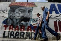 Graffiti depicting Venezuelan President Nicolás Maduro in Caracas, April 17, 2015.