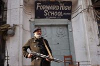 A Pakistani policeman stood guard outside a school in Peshawar the day after the Taliban attacked Bacha Khan University. Credit Hasham Ahmed/Agence France-Presse — Getty Images