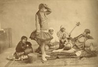 Dancers and musicians at the Qajar court, late nineteenth century. Antoin Sevruguin/Collection of Azita Bina and Elmar W. Seibel.