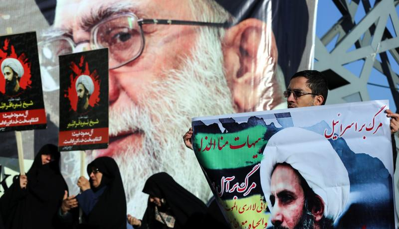 Demonstrators in Tehran protest against the execution of prominent Saudi Shia cleric Nimr Baqir al-Nimr on 4 January 4 2016. Photo by Getty Images.