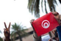 Durant une manifestation à Tunis, le 20 janvier 2011. Photo Martin Bureau. AFP