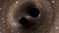 The collision of two black holes, detected for the first time by the Laser Interferometer Gravitational-Wave Observatory (LIGO), is seen in this image from a computer simulation. (Handout/Reuters)