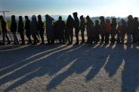 Des migrants et des réfugiés reçoivent de la nourriture alors qu'ils patientent pour traverser la frontière entre la Grèce et la Macédoine, le 21 janvier. Photo Sakis Mitrolidis. AFP