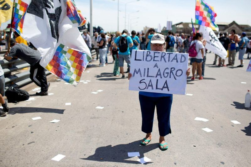 Protesters last month demanded the release of the prominent social activist Milagro Sala, who was arrested in January. Credit Natacha Pisarenko/Associated Press