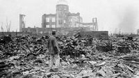 A photograph from 1945 shows some of the devastation in Hiroshima, Japan, after the atomic bomb blast. (Stanley Troutman / AP)