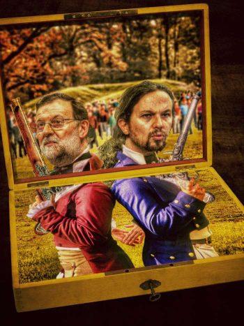 Dos pistolas en la caja amarilla de España