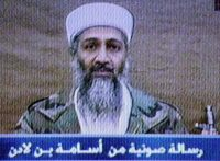 "An video image of Osama bin Laden from 2002. Text at bottom reads ""Voice message from Osama bin Laden."" Al Jazeera, via Associated Press"