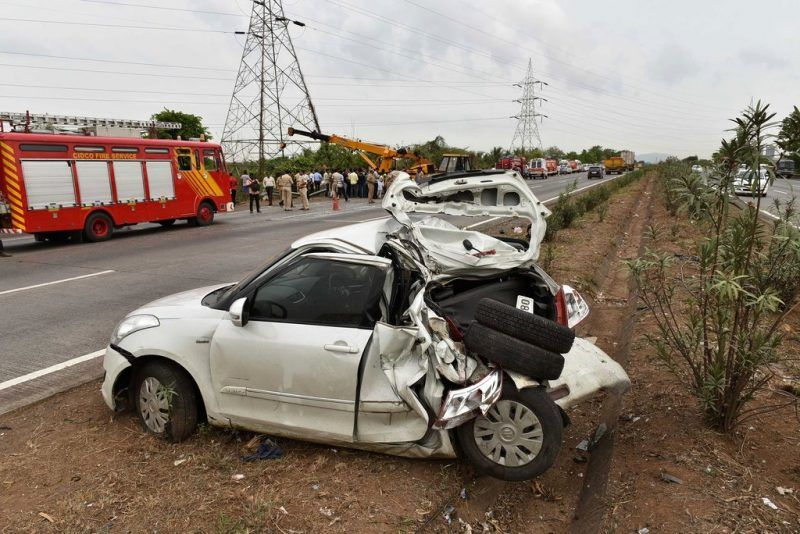Indian rescue workers examine the scene of an accident on the Mumbai-Pune expressway near Shedung Panvel earlier this month.Credit Agence France-Presse — Getty Images