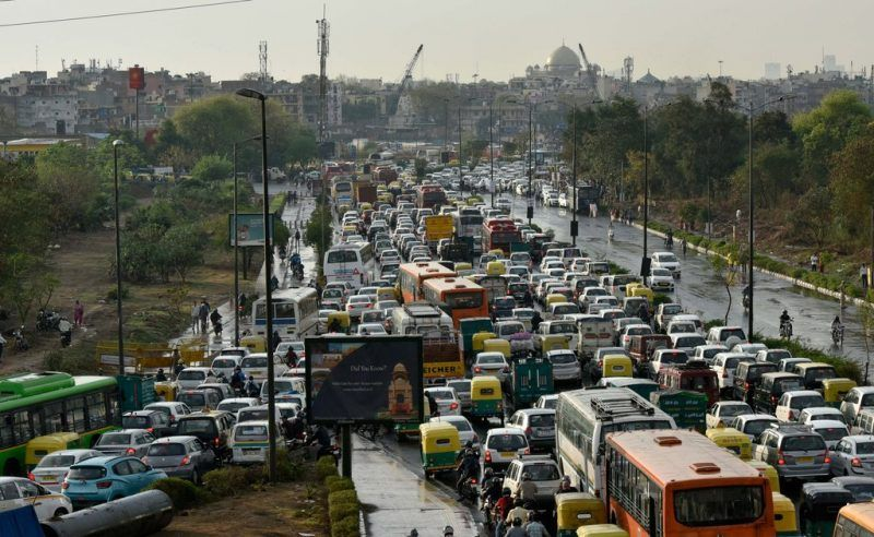 Huge traffic jams tie up the streets in New Delhi, India. Ravi Choudhary/Hindustan Times, via Getty Images