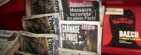 Kiosque à journaux, Nice, 14 novembre 2015, au lendemain des attentats de Paris. © ERIC GAILLARD