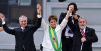 Dilma Rousseff, al centro, con su vicepresidente Michel Temer y Luiz Inácio Lula da Silva durante la toma de posesión de Rousseff en Brasilia en 2011 Evaristo Sa/Agence France-Presse – Getty Images
