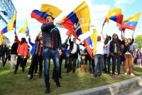 Supporters of the Colombia peace process in Bogota this month. Mauricio Duenas Castaneda/European Pressphoto Agency
