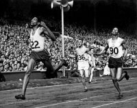Arthur Wint of Jamaica, left, winning the men's 400 meters at the London Olympic Games in 1948. Herb McKenley of Jamaica, right, won the silver medal, and Mal Whitfield of the United States, center, won the bronze. Associated Press