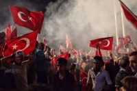 Supporters of Turkish President Recep Tayyip Erdogan in Istanbul's Taksim Square, July 18, 2016. Kursat Bayhan/Getty Images