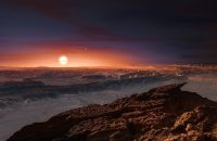 This artist rendering shows a view of the surface of the planet Proxima b orbiting the red dwarf star Proxima Centauri, the closest star to the Solar System. M. Kornmesser/European Southern Observatory