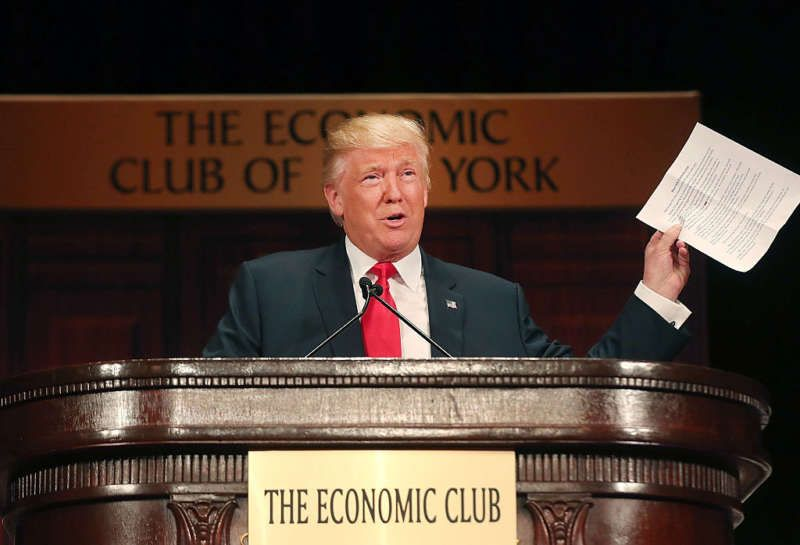 Donald Trump at the Economic Club of New York, September 15, 2016. Spencer Platt/Getty Images.