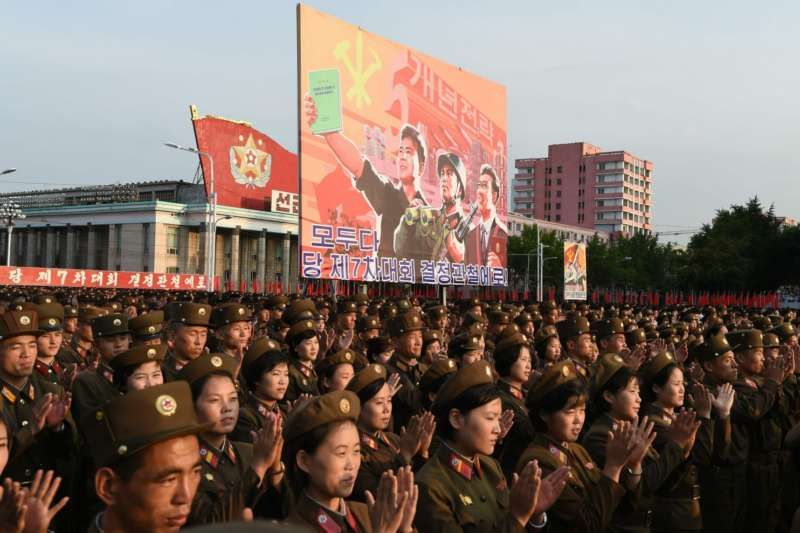 Soldiers at a celebration rally in Kim Il Sung Square in Pyongyang following the country's successful test of a nuclear warhead this month. (Kim Won-Jin/AFP/Getty Images)