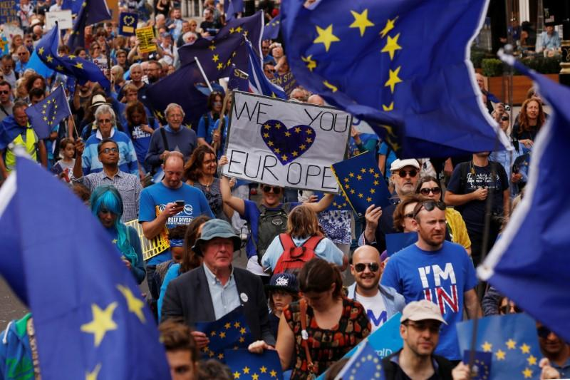 Activists march in London to protest against Britain's vote to leave the EU. REUTERS/Luke MacGregor