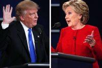 Donald Trump y Hillary Clinton el lunes en el escenario de Hofstra University Credit Doug Mills/The New York Times