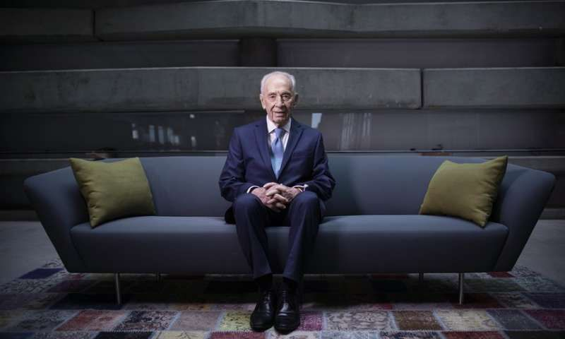 President Shimon Peres at the Peres Center for Peace in Jaffa, Israel. Photograph: Oded Balilty/AP