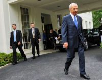 Shimon Peres departs the White House after meeting with President Obama in the Oval Office in Washington in 2009.