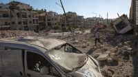 A picture shows destruction following an air strike in the rebel-held Ansari district in the northern Syrian city of Aleppo on September 23, 2016.