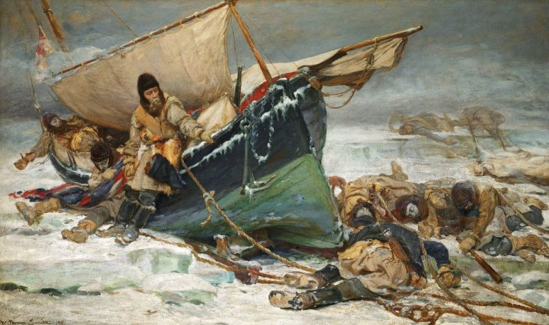 The crew of the doomed Lord Franklin expedition in an 1895 painting by William Thomas Smith. The men were trapped as they sought to navigate the Northwest Passage. National Maritime Museum, Greenwich, London