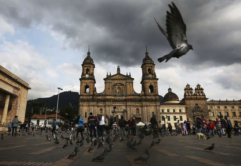 Bolivar Square after Colombian President Juan Manuel Santos cast his ballot there in the referendum on a peace accord, Bogotá, Colombia, October 2, 2016. Mario Tama/Getty Images