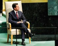President Enrique Pena Nieto at the United Nations last month. (Eduardo Munoz/Reuters)