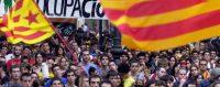 Foule rassemblée pour la fête de l'autonomie de la Catalogne à Barcelone, le 11 septembre 2003. © Julian Martin