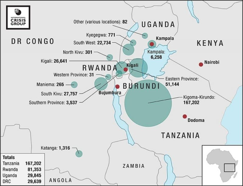 Figures depicting the influx of Burundian refugees to bordering countries since 1 April 2015, and to neighbouring Uganda since 1 January 2015. All figures accessed on 14 October 2016. UNHCR