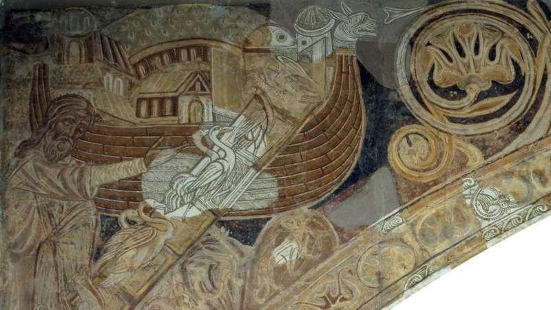 Fragmento de los murales de la sala capitular del monasterio de Sigena, que se exponen en la sala 16 del MNAC. (MNAC Museu Nacional d'Art de Catalunya (MNAC))
