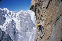 Josh Wharton, the author's climbing partner, on day three of the pair's first ascent of the Azeem Ridge, Great Trango Tower, Pakistan, in 2004. Credit Kelly Cordes
